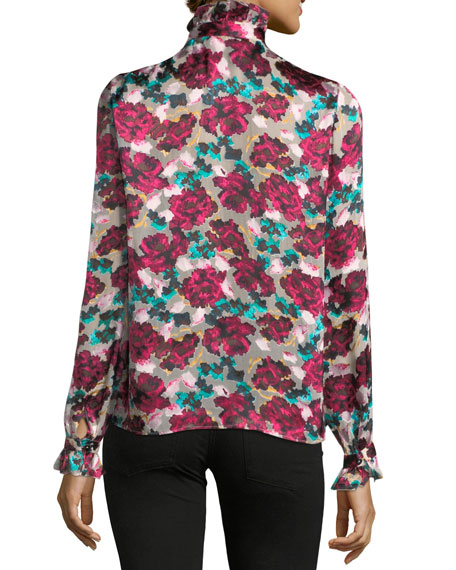 Emile Floral-Print Button-Front Silk Top