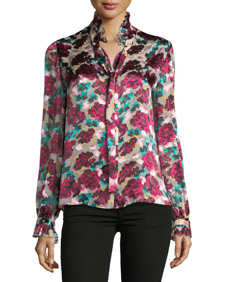 Saloni Emile Floral-Print Button-Front Silk Top