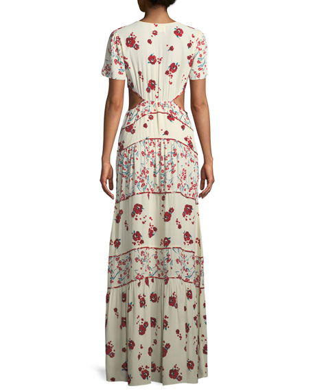 Belie V-Neck Floral-Print Long Dress with Cutout Sides