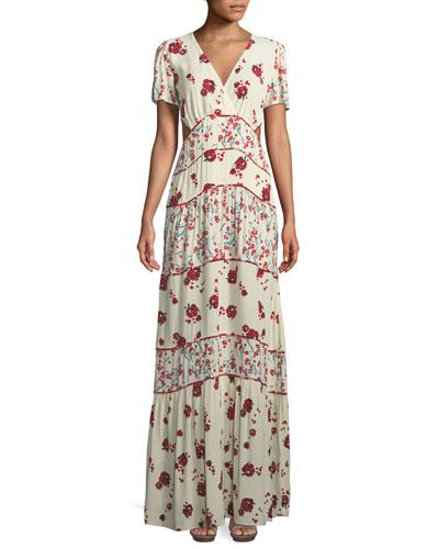 Belie V-Neck Floral-Print Long Dress with Cutout Sides