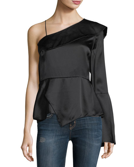 Cache One-Sleeve Silk Blouse
