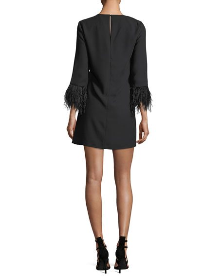 Cersy Round-Neck Crepe Shift Dress