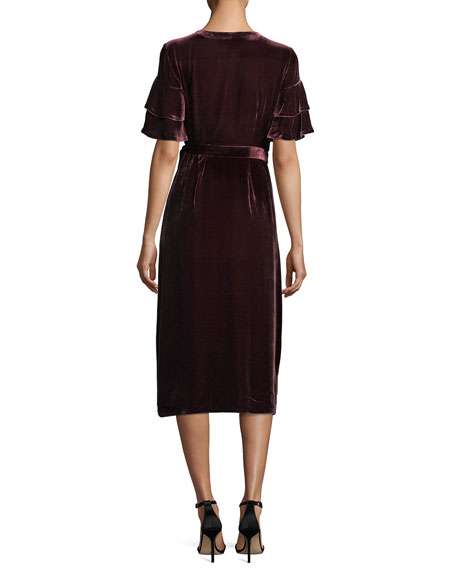 Tay Short-Sleeve Velvet Wrap Dress
