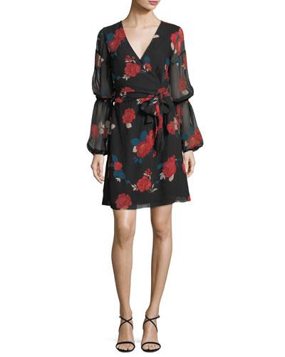 Jowdie Wrap-Front Tiered-Sleeves Floral-Print Silk Dress