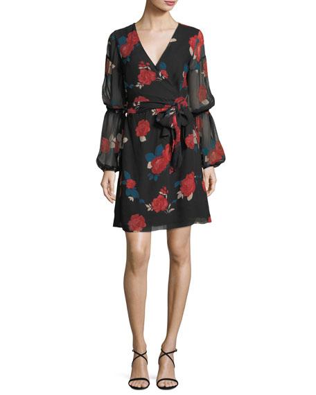 Club Monaco Jowdie Wrap-Front Tiered-Sleeves Floral-Print Silk