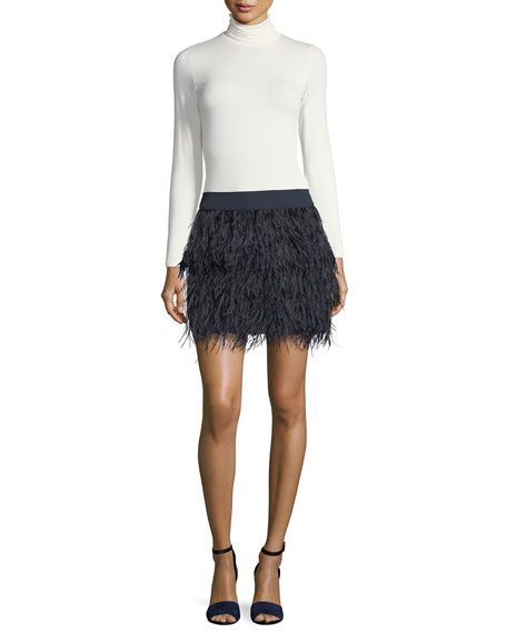 Rahma Feather Straight Mini Skirt