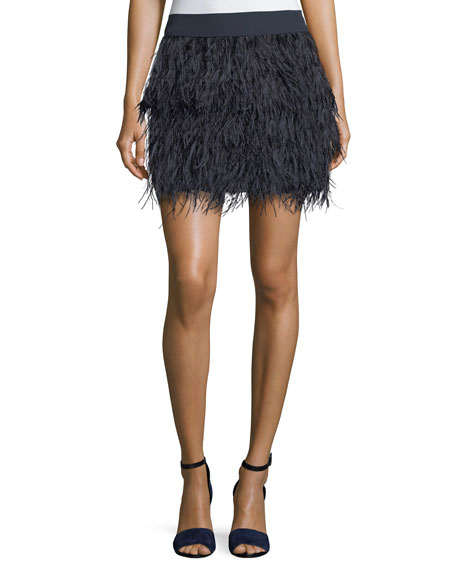 Club Monaco Rahma Feather Straight Mini Skirt
