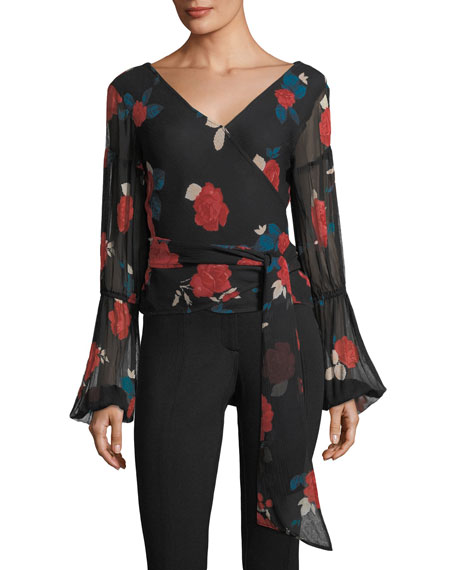 Club Monaco Darlana V-Neck Floral-Print Silk Top