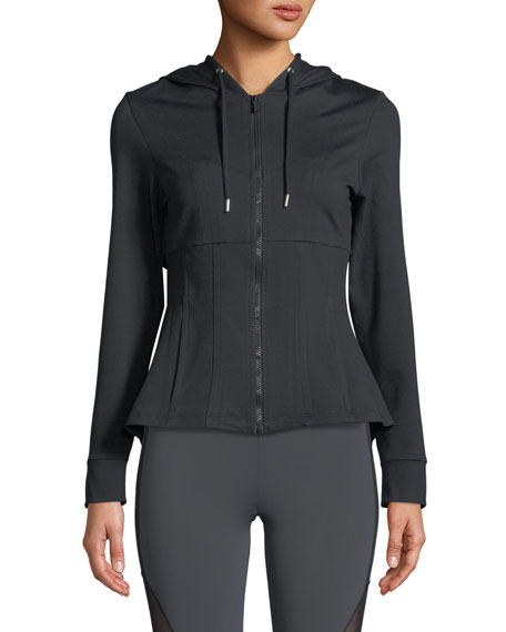 Aurelia Zip-Front Peplum Performance Jacket
