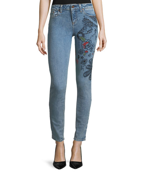 AO.LA Low-Rise Skinny-Leg Jeans with Embroidery
