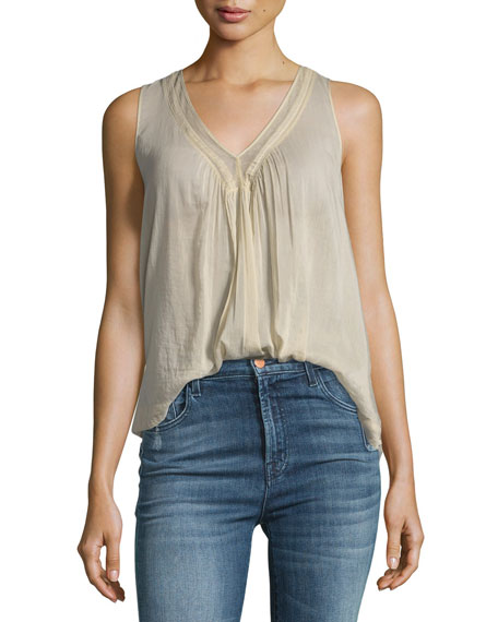 Giada Forte Cotton-Silk Voile Top with Lace