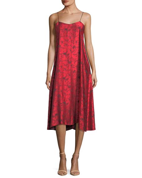 V-Neck Printed Viscose Midi Slip Dress