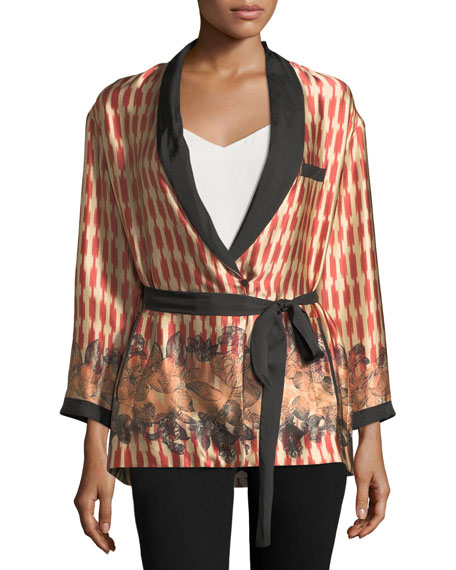 Forte Forte Printed Belted Silk Topper Jacket
