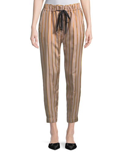 Drawstring Striped Jogger Pants