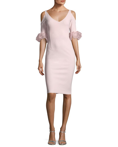 Fabrizia Cold-Shoulder V-Neck Cocktail Dress