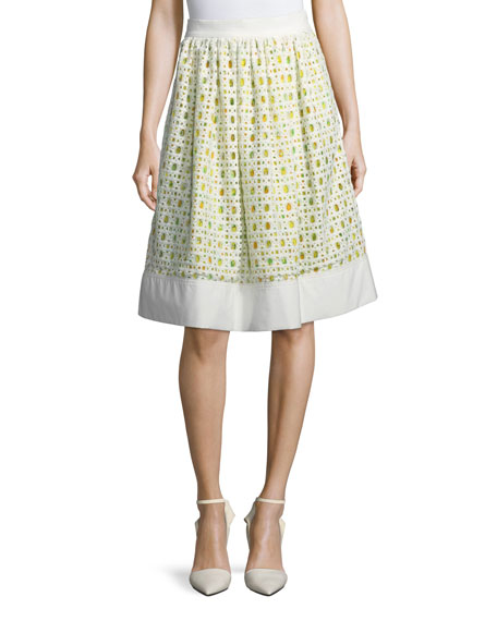 Boutique Moschino Lemon-Print Eyelet A-Line Skirt