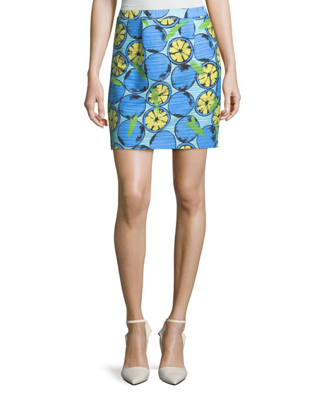 Lemon-Print Cotton Skirt