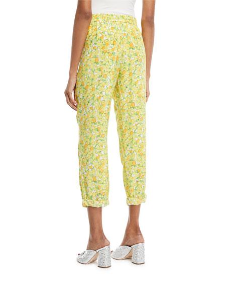 Lemon-Print Crop Pants