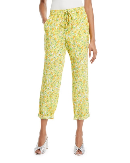 Boutique Moschino Lemon-Print Crop Pants