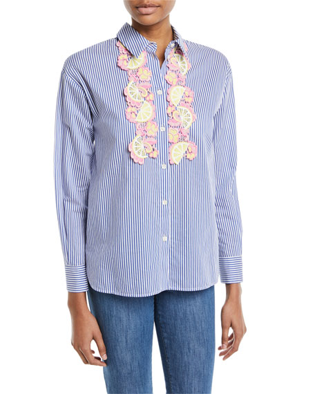 Fruit-Embroidered Striped Shirt