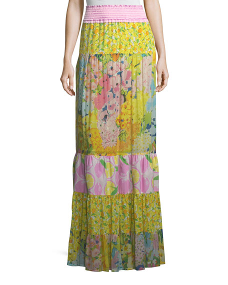 BOUTIQUE MOSCHINO Patchwork Maxi Skirt in Yellow Multi