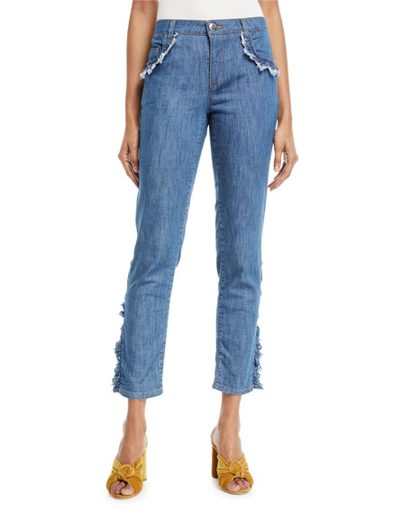 Frayed-Trim Crop Jeans