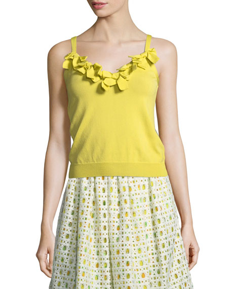 Boutique Moschino Lemon-Print Eyelet A-Line Skirt and Matching
