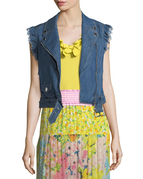 Boutique Moschino Denim Moto Vest