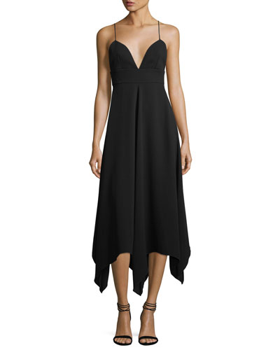 Strappy Asymmetric-Hem Cocktail Dress