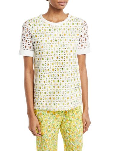 Lemon-Print Eyelet T-Shirt