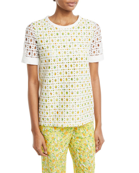 Lemon-Print Eyelet T-Shirt