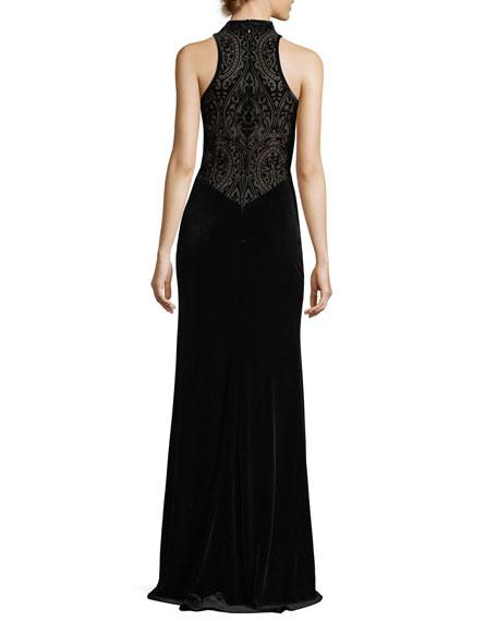 Halter-Neck Velvet Burnout Gown