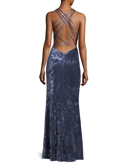 Crushed Velvet Strappy-Back Gown