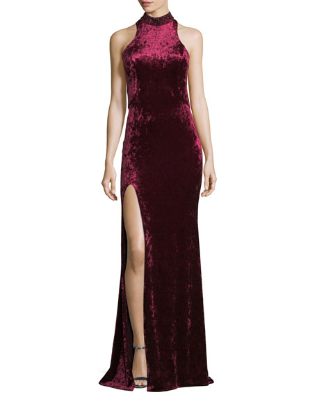 CRUSHED VELVET CUTOUT RACERBACK GOWN