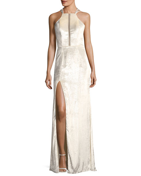 La Femme Metallic Velvet Strappy-Back Gown