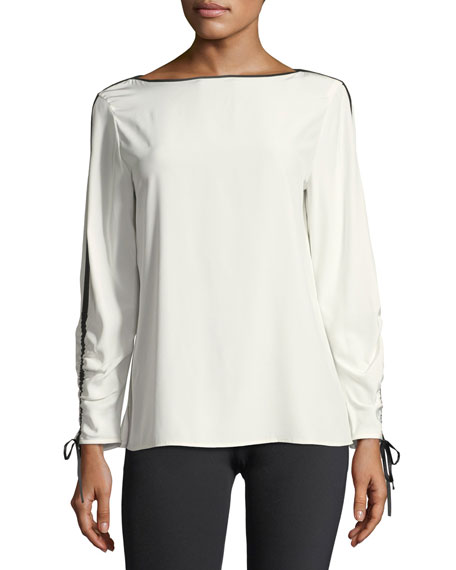 Lafayette 148 New York Georgina Blouse w/Contrast Tipping,