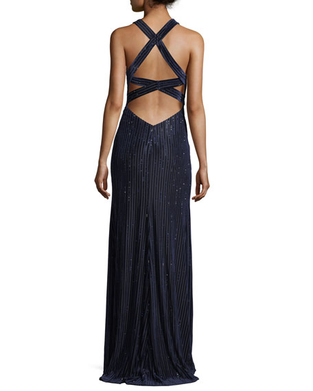 Vertical Beading Crisscross Back Velvet Gown