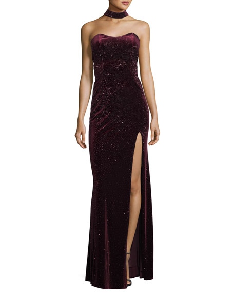 Sweetheart Open-Back Velvet Choker-Neck Gown