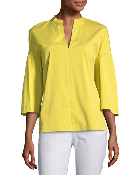 Lafayette 148 New York Carla Stretch-Cotton Blouse, Plus