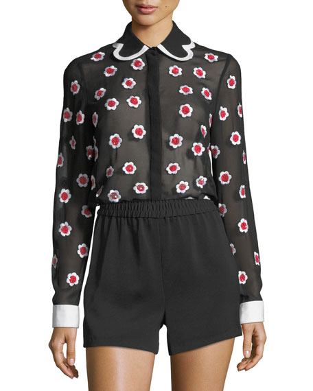 Alice + Olivia Willa Floral-Embroidered Long-Sleeve Sheer Shirt