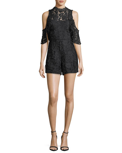 Junie Cold-Shoulder Lace Romper