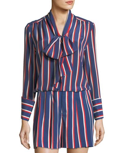 Arie Tie-Cuffs Striped Silk Long-Sleeve Top