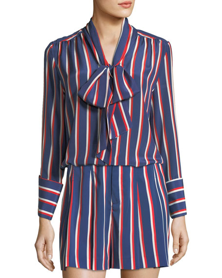 Alice + Olivia Arie Tie-Cuffs Striped Silk Long-Sleeve