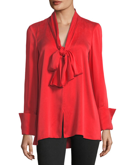 Alice + Olivia Gwenda Tie-Neck Silk-Blend Tunic Blouse