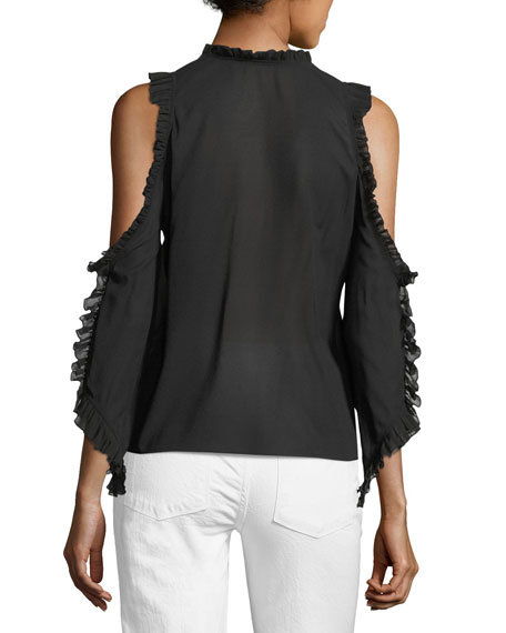 Claudette V-Neck Cold-Shoulder Blouse