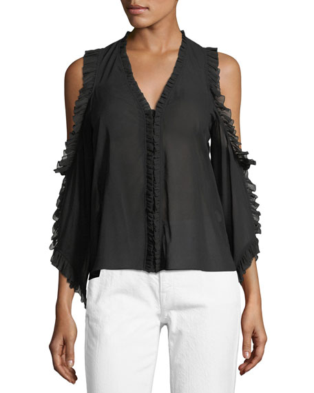 Alice + Olivia Claudette V-Neck Cold-Shoulder Blouse