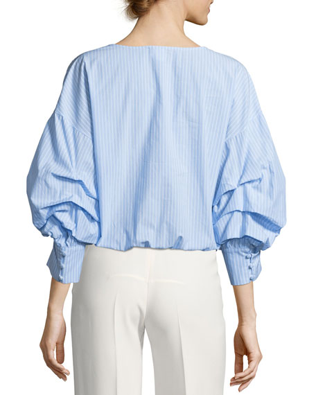 Braelyn Wrap-Front Ruched-Sleeve Striped Top
