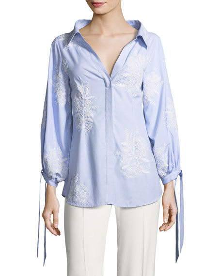 Alice + Olivia Toro Button-Front Pinstriped Shirt with