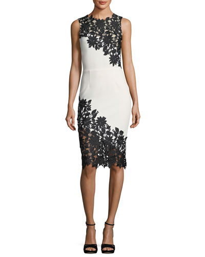 Margy Sleeveless Fitted Dress with Lace Guipure