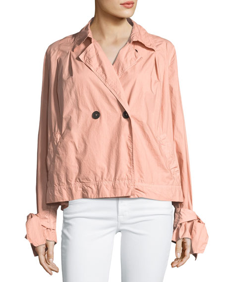 Two-Button Boxy Poplin Trench Coat